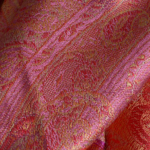 SILK MARK- 100% Superfine Silk Orange and Multi Colour Jacquard Jamawar Scarf with Fringes (Size 190x70 Cm)