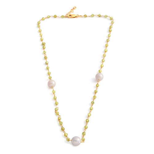 One Time Deal- Designer Inspired- Fresh Water Baroque Pearl and Hebei Peridot Beads Necklace (Size 18 with 1 inch Extender) in Yellow Gold Overlay Sterling Silver
