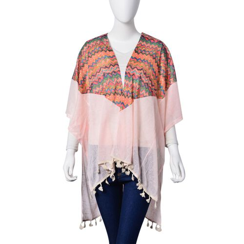 New Season-Multi Colour Zigzag Pattern Pink Colour Poncho with Tassels (Size 80X70 Cm)