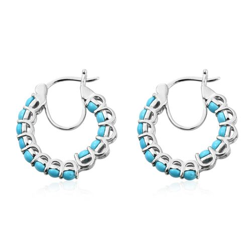 Arizona Sleeping Beauty Turquoise (Rnd) Hoop Earrings in Platinum Overlay Sterling Silver 3.000 Ct.