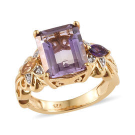 Anahi Ametrine (Oct), Citrine, Amethyst and Natural White Cambodian Zircon Ring in 14K Gold Overlay