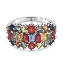 Rainbow Sapphire Ring in Platinum Overlay Sterling Silver 3.28 Ct.