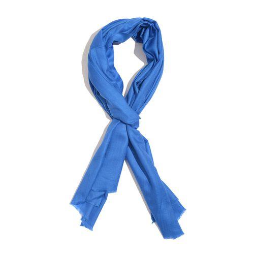 100% Cashmere Wool Royal Blue Colour Shawl (Size 200x70 Cm)