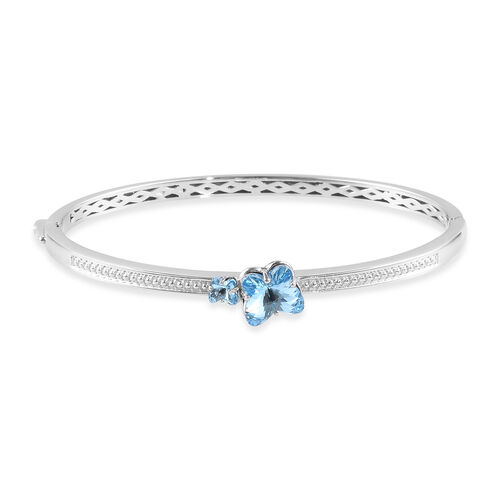 J Francis Aquamarine Colour Crystal from Swarovski Bangle in Platinum Plated 7.5 Inch