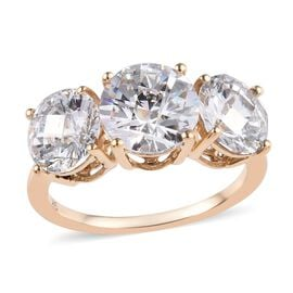 J Francis Made with SWAROVSKI ZIRCONIA Trilogy Ring in 9K Gold 2.17 Grams