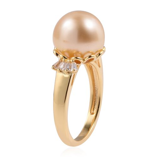 Mega Day Deal - South Sea Golden Pear (Very Rare Size Rnd 14 mm), Natural White Cambodian Zircon Ring in Yellow Gold Overlay Sterling Silver