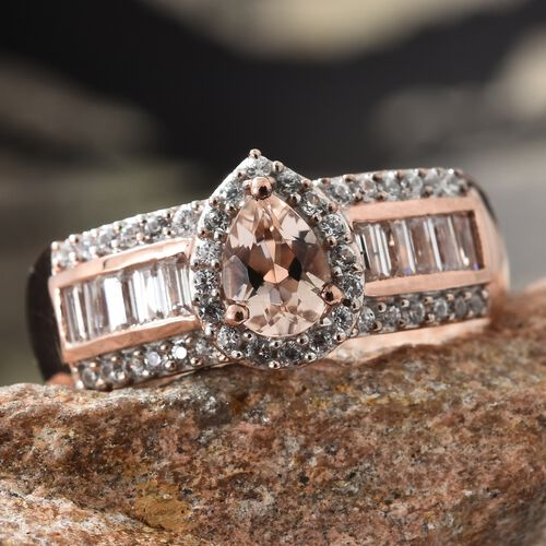 Marropino Morganite (Pear), Natural Cambodian Zircon Ring in Rose Gold Overlay Sterling Silver 2.000 Ct.
