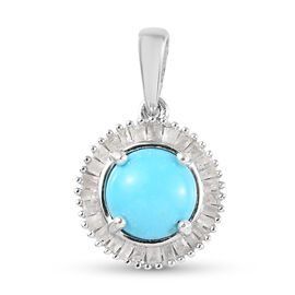 Arizona Sleeping Beauty Turquoise and White Diamond Halo Pendant in Platinum Overlay Sterling Silver