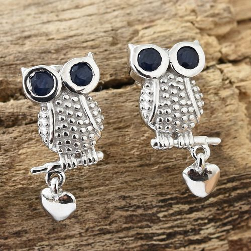 WEBEX- Kanchanaburi Blue Sapphire (Rnd)  Owl Earrings (with Push Back) with Heart Charm in Platinum Overlay Sterling Silver 0.500 Ct