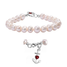 Freshwater Pearl (Rnd) Bracelet (Size 7.5) with Enamelled Anchor Charm in Platinum Overlay Sterling