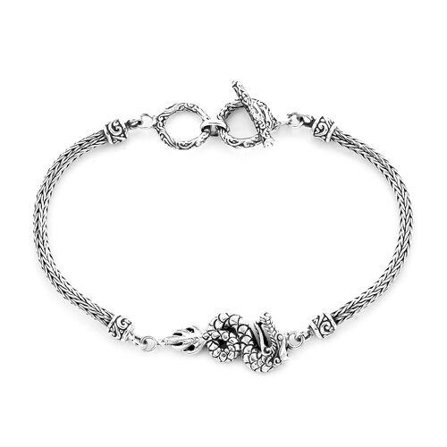 Royal Bali Collection - Sterling Silver Dragon Tulang Naga Toggle Bar Bracelet (Size 7.5 with Extend
