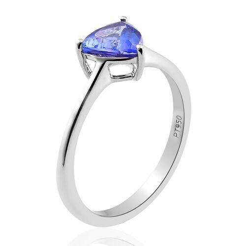 RHAPSODY 950 Platinum AAAA Tanzanite Solitaire Ring 1.20 Ct.