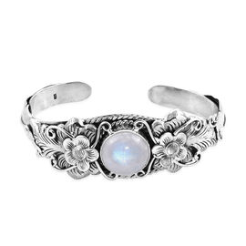 Royal Bali 15.68 Ct Rainbow Moonstone Cuff Bangle in Silver 28.94 grams 7.25 Inch