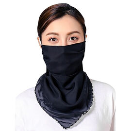 2 in 1 Chiffon Soft Feel Scarf and Protective Face Mask (Size 45x45 Cm) - Solid Black