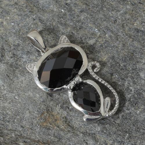 Boi Ploi Black Spinel (Ovl) Cat Pendant in Platinum Overlay Sterling Silver 5.250 Ct.