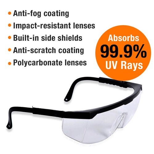 Multi-Purpose Protective Glasses with Antifog Clear Lens and Black Frame