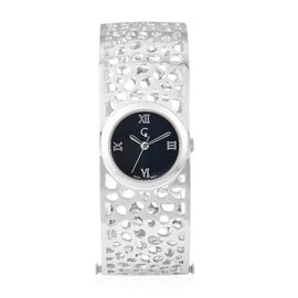 RACHEL GALLEY Swiss Movement Lattice Bangle Rhodium Overlay Sterling Silver Watch (Size 7.75), Silve