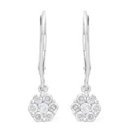 0.50 Carat Diamond Pressure Set Floral Lever Back Earrings in 9K White Gold SGL Certified I3 GH