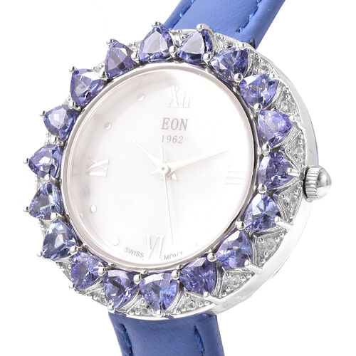 Limited Edition- Tanzanite and Natural Cambodian Zircon Watch in Sterling Silver 4.32 Ct, Silver wt. 13.60 Gms