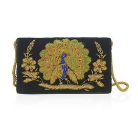 Peacock Sequence Hand Embroidered Velvet Clutch with Shoulder  Strap (Size 20.32x12.7x5.08 Cm) - Bla