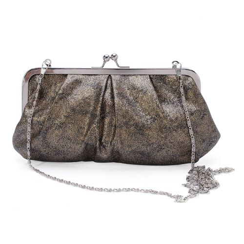 Golden Colour Glitter Clutch Bag with Removable Chain Strap (Size 24x13 Cm)