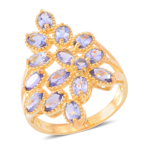 Tanzanite (Ovl) Floral Ring in 14K Gold Overlay Sterling Silver 3.250 Ct.