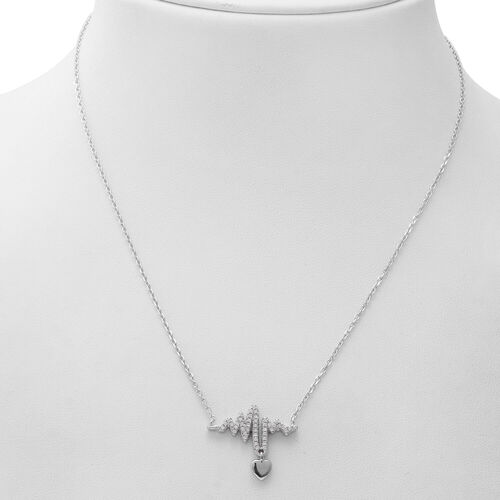 ELANZA Simulated Diamond (Rnd) Adjustable Necklace (Size 17.25 with 1 inch Extender) in Rhodium Overlay Sterling Silver, Silver wt 5.10 Gms