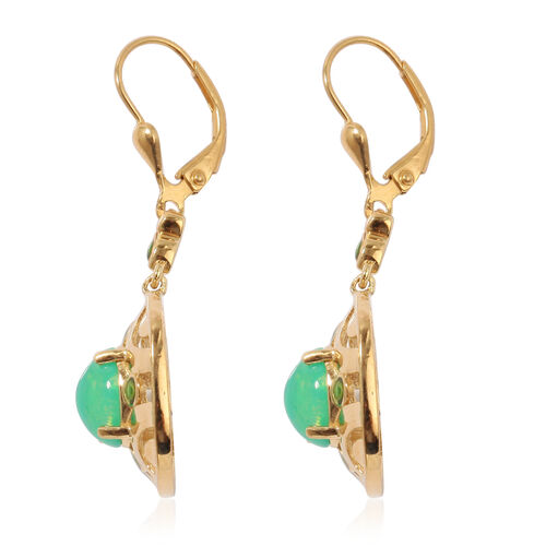 Green Ethiopian Opal Enamelled Lever Back Earrings in 14K Gold Overlay Sterling Silver 2.25 Ct, Silver wt 6.30 Gms