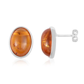 Baltic Amber Solitaire Stud Earrings in Rhodium Plated Sterling Silver