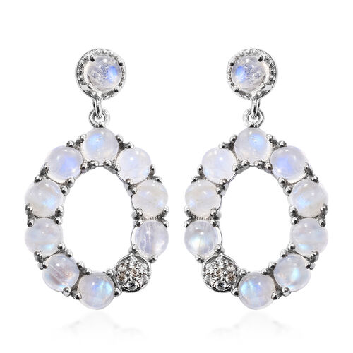 GP Rainbow Moonstone (Rnd), Natural Cambodian Zircon and Kanchanaburi Blue Sapphire Earrings (with Push Back) in Platinum Overlay Sterling Silver 13.250 Ct. Silver wt. 6.49 Gms.