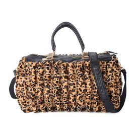 Designer Inspired - 100% Genuine leather - Leopard Print Tote Bag with Detachable Strap (32x12x25 Cm