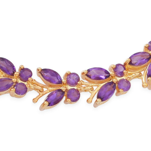 Kaleidoscope Collection - Lusaka Amethyst (Mrq) Butterfly Bracelet (Size 7.5) in 14K Gold Overlay Sterling Silver 10.000 Ct. Silver wt 14.00 Gms.