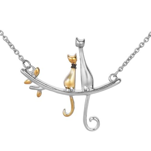 Black Diamond Cat Sitting on Branch Necklace (Size 18) in Platinum and Yellow Gold Overlay Sterling