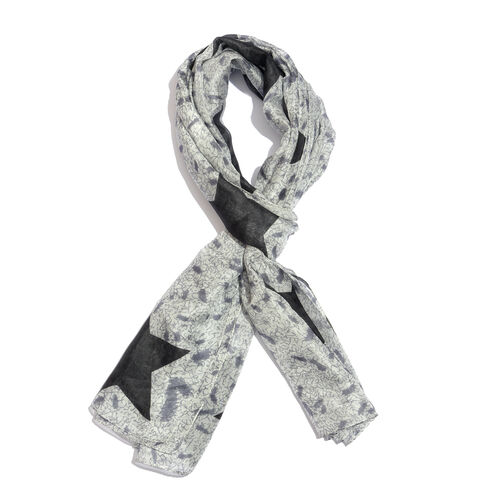 100% Mulberry Silk Black and Grey Colour Hand Screen Stars Printed Scarf (Size 180X100 Cm)