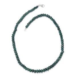 289 Ct Emerald Green Corundum Beaded Necklace in Platinum Plated Sterling Silver 20 Inch