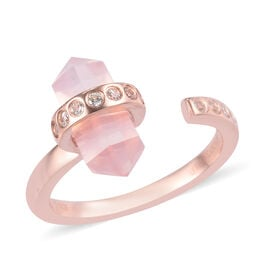 Sundays Child - Rose Quartz and Natural Cambodian Zircon Ring in Rose Gold Overlay Sterling Silver 3