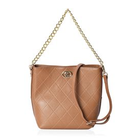 100% Genuine Leather Checker Quilted Pattern Shoulder Bag (Size 25x20x13x24 Cm) with Detachable Leat
