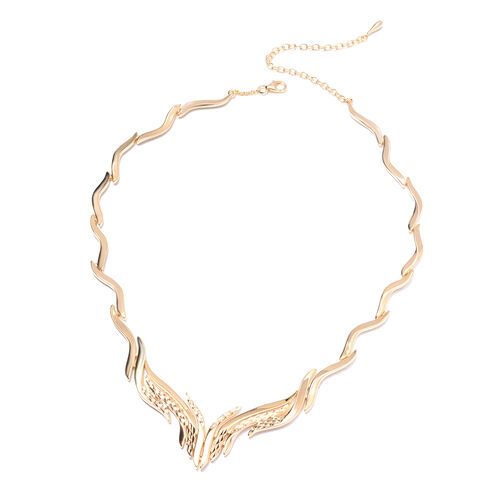 LucyQ  Flame Collection- Yellow Gold Overlay Sterling Silver Necklace (Size 17 with 4 inch Extender), Silver wt. 56.91 Gms