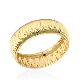 Italian Made - 9K Yellow Gold Diamond Cut Ring