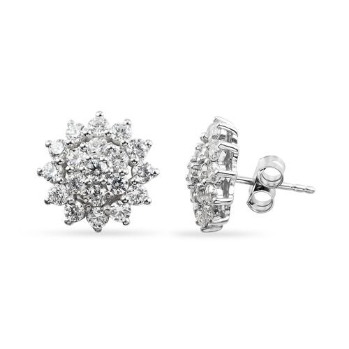 J Francis Platinum Overlay Sterling Silver Cluster Floral Earrings (with Push Back) Made with SWAROVSKI ZIRCONIA 3.25 Ct.