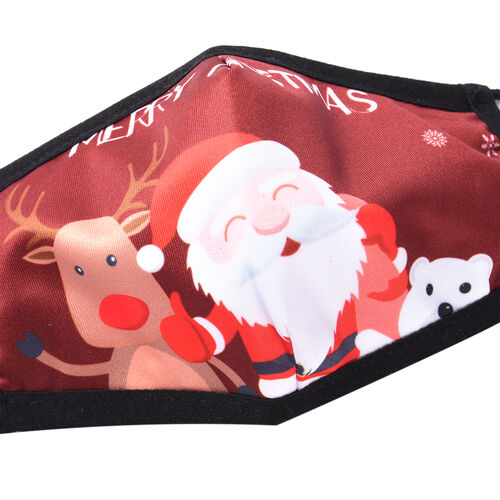 Christmas Special - Set of 2 - Santa Claus, Bear & Reindeer Christmas Print Anti-Bacterial Cotton Mask (Adult and Kid) with Filter - Burgundy
