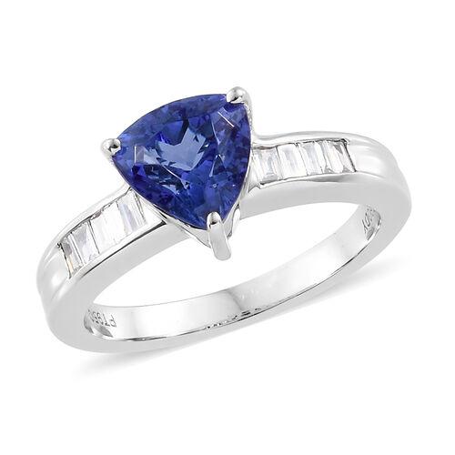 RHAPSODY 950 Platinum AAAA Tanzanite (Tri 1.750 Ct) Diamond (VS/E-F) Ring  1.900  Ct, Platinum wt 6.04 Gms.