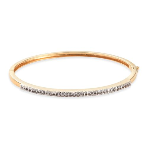 Diamond (Rnd) Bangle (Size 7.5) in 14K Gold Overlay Sterling Silver   0.750 Ct, Silver wt 14.00 Gms,