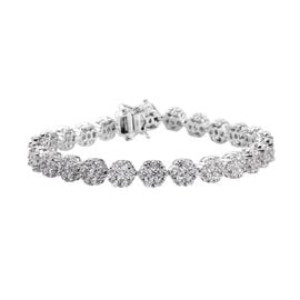 J Francis Platinum Overlay Sterling Silver Bracelet (Size 8) Made with SWAROVSKI ZIRCONIA 28.75 Ct.
