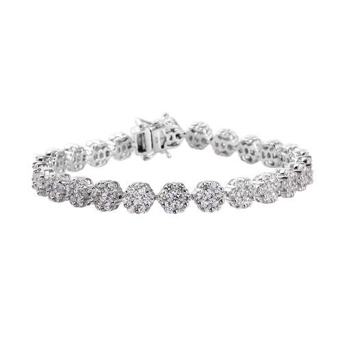 J Francis Platinum Overlay Sterling Silver Bracelet (Size 8) Made with SWAROVSKI ZIRCONIA 22.24 Ct,