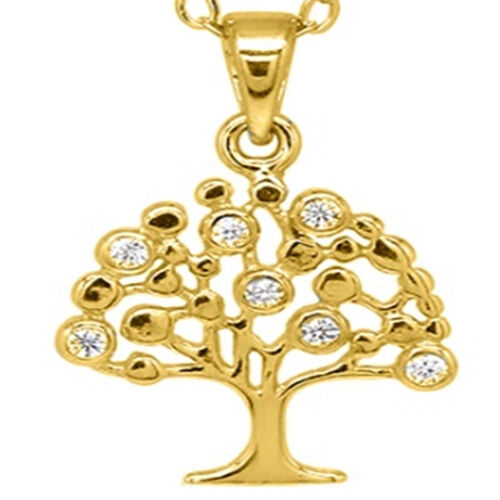 ELANZA Simulated Diamond Tree Pendant with Chain (Size 18) in Yellow Gold Overlay Sterling Silver