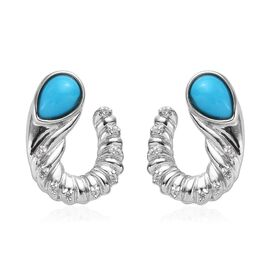 1.28 Ct Arizona Sleeping Beauty Turquoise and Zircon Twisted Earrings in Platinum Plated Silver