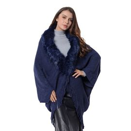 Faux Fur Collar Kimono with Tassels (Free Size) Navy Blue Colour