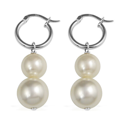 White Shell Pearl (Rnd) Earrings (with Clasp) in Rhodium Overlay Sterling Silver