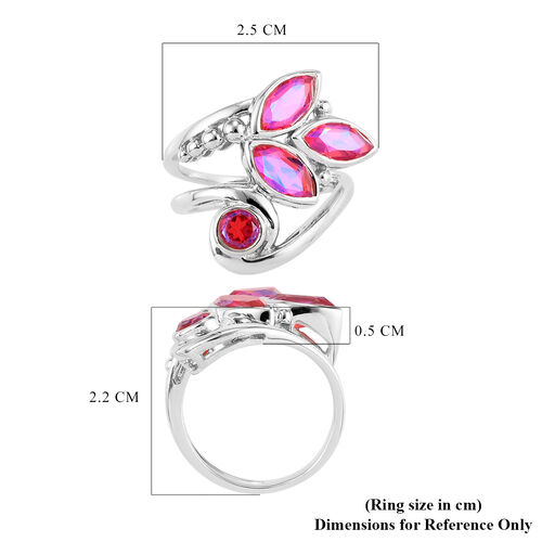 Sajen Silver - Volcano Rainbow Doublet Quartz Bypass Ring in Sterling Silver 2.08 Ct.